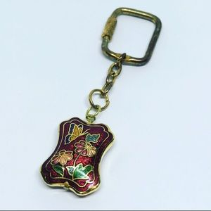 Vintage Butterfly Floral Keychain